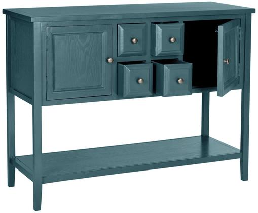 Credenza  in stile country Amy, Petrolio, Larg. 116 x Alt. 86 cm