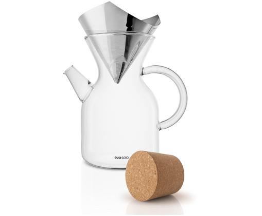 Cafetièreset Vetro, 3-delig, Cafetière: borosilicaatglas, Deksel: kurk, Transparant, edelstaalkleurig, 1 L