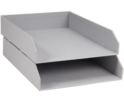 Vassoio per documenti Hakan, 2 pz., Solido, cartone laminato, Grigio chiaro, Larg. 23 x Prof. 31 cm