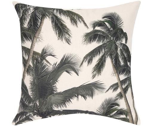Federa arredo con motivo tropicale Mogli, Cotone, Ecru, verde, Larg. 40 x Lung. 40 cm