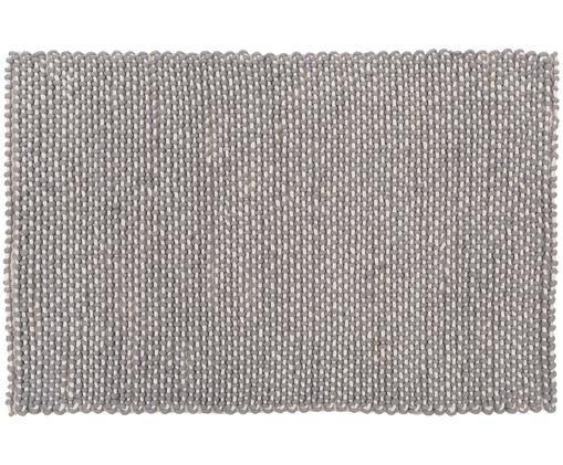 Alfombra artesanal de lana Norah, Gris, crema
