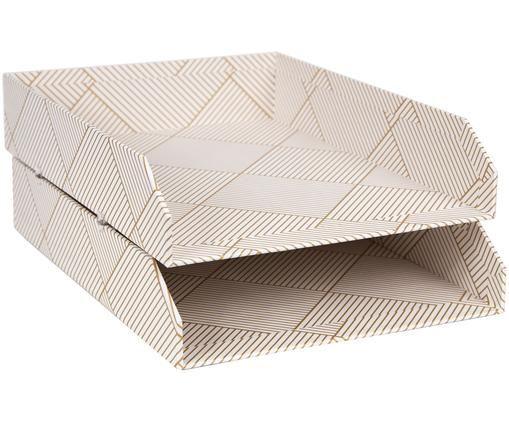 Vassoio per documenti Hakan, 2 pz., Solido, cartone laminato, Dorato, bianco, Larg. 23 x Prof. 31 cm