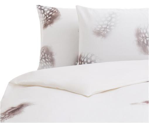Parure copripiumino reversibile Light, Cotone, Bianco, marrone, grigio, 200 x 200 cm