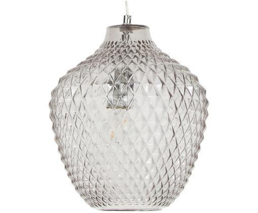 Lampada a sospensione Lee, Baldacchino: metallo, cromato, Paralume: vetro, Grigio, trasparente, Ø 27 x Alt. 33 cm