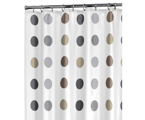 Duschvorhang Twister, Polyester Wasserabweisend, nicht wasserdicht, Weiß, Beige, Taupe, Grau, 180 x 200 cm