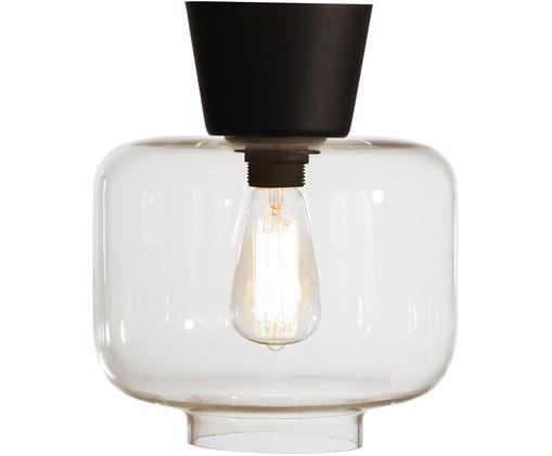 Deckenleuchte Ritz aus Glas, Baldachin: Messing, lackiert, Lampenschirm: Glas, Schwarz, Transparent, Ø 25 x H 28 cm