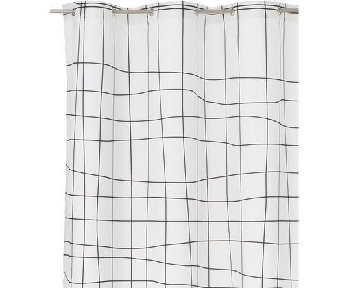 Schmaler Duschvorhang Grid, Weiß, Schwarz, 150 x 200 cm