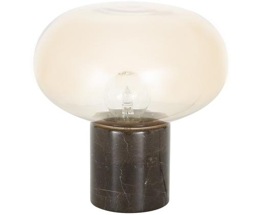 Marmor-Tischleuchte Alma, Lampenfuß: Marmor, Lampenschirm: Glas, Lampenfuß: Brauner MarmorLampenschirm: Bernsteinfarben, transparent, Ø 23 x H 24 cm