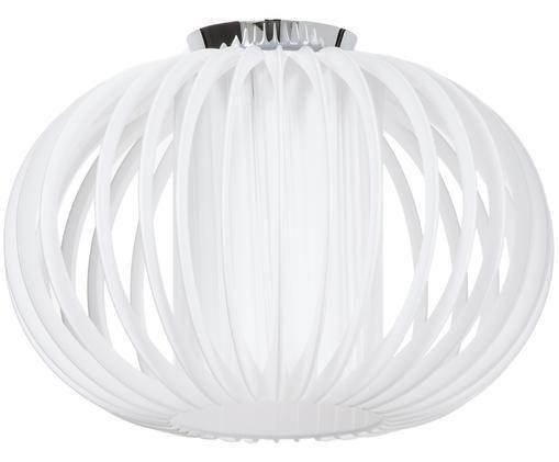 Design-Deckenleuchte Plastband, Baldachin: Metall, vermessingt und v, Lampenschirm und Diffusor: WeißBaldachin: Chrom, Ø 38 x H 25 cm