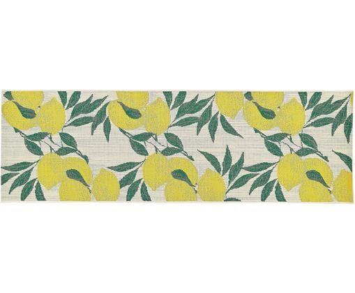 In- & Outdoorläufer Limonia, Flor: Polypropylen, Weiß, Gelb, Grün, 80 x 250 cm
