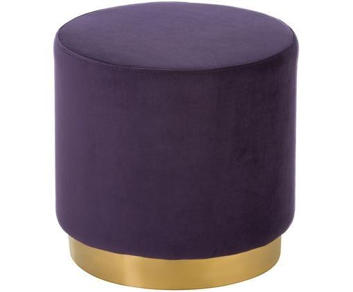 Tabouret en velours Orchid, Revêtement: aubergine Socle: couleur dorée