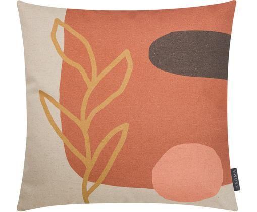 Dwustronna poszewka na poduszkę Images, 85% bawełna, 15% len, Terakota, beżowy, blady różowy, brązowy, S 50 x D 50 cm