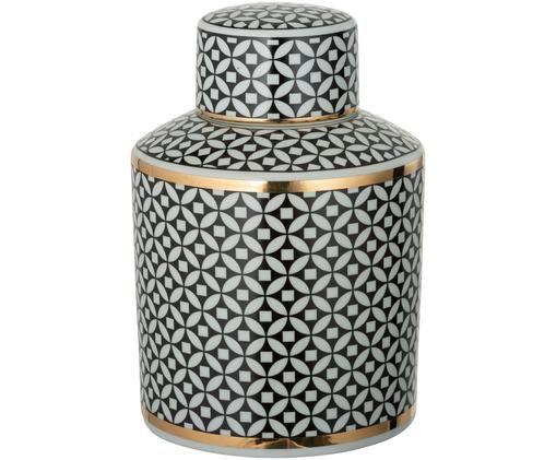 Opbergpot Jaro, Porselein, Zwart, wit, goudkleurig, Ø 14 x H 22 cm