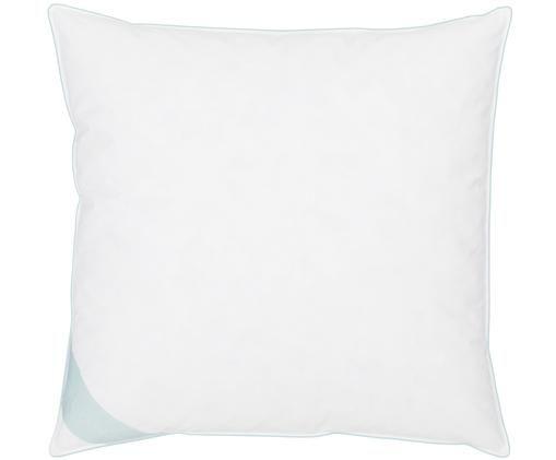 Poduszka z pierza Comfort, miękka, Biały z turkusową satynową lamówką, S 80 x D 80 cm