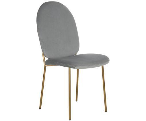 Krzesło tapicerowane z aksamitu Mary, Tapicerka: aksamit (poliester) 1500, Nogi: metal powlekany, Szary, S 44 x G 65 cm