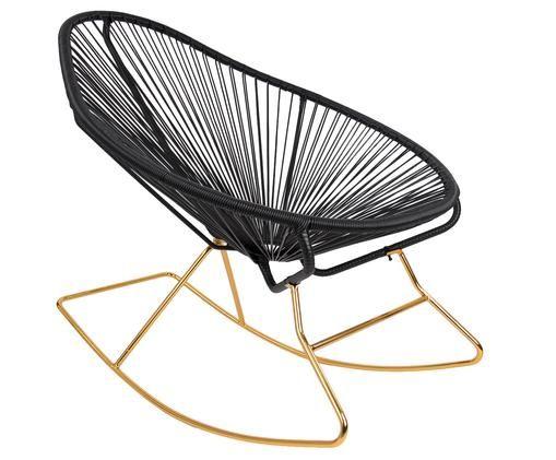 Moderner Schaukelstuhl Grace in Schwarz, Gestell: Metall, Sitzfläche: Polyethylen-Geflecht, Gestell: Goldfarben, Geflecht: Schwarz, 80 x 83 cm