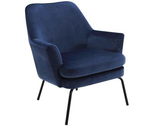Samt-Loungesessel Chisa in Blau, Bezug: Polyester (Samt) Der Bezu, Beine: Metall, pulverbeschichtet, Marineblau, B 58 x T 50 cm