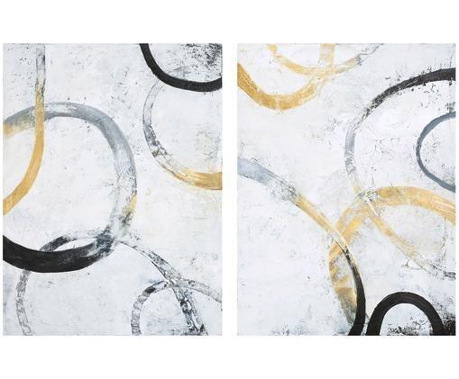Set quadri dipinti a mano Golden Unit, 2 pz., Immagine: Pitture ad olio su tela (, Multicolore, Larg. 60 x Alt. 80 cm