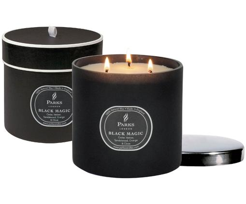 Vela perfumada con tres mechas Black Magic (cedro, vetiver y pachulí), Negro, crema