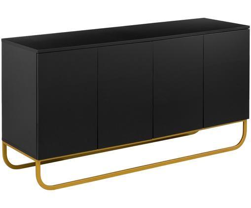 Credenza classica in nero Sanford, Corpo: nero opaco base: dorato opaco, Larg. 160 x Alt. 83 cm