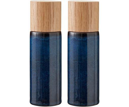 Komplet solniczki i pieprzniczki Bizz, 2 elem., Ciemny niebieski, brązowy, drewno naturalne, Ø 5 x W 17 cm
