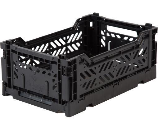 Scatola pieghevole Black, impilabile, piccola, Materiale sintetico riciclato, Nero, Larg. 27 x Alt. 11 cm