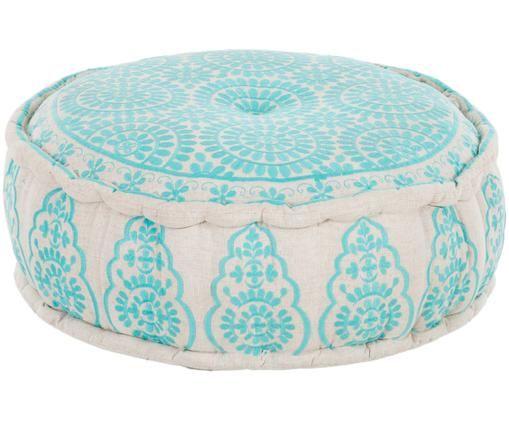 Okrągła haftowana poduszka podłogowa Nomad, Tapicerka: solidne bawełniane płótno, Turkusowy, beżowy, Ø 60 cm
