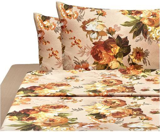 Completo letto Virginia, Marrone, multicolore