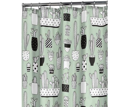 Duschvorhang Cactus mit Kaktus-Print, Kunststoff (PEVA) Wasserdicht, Grün, Schwarz, Weiß, 180 x 200 cm