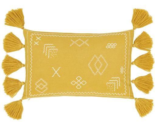 Bestickte Kissenhülle Huata, Baumwolle, Gelb, Beige, 30 x 50 cm