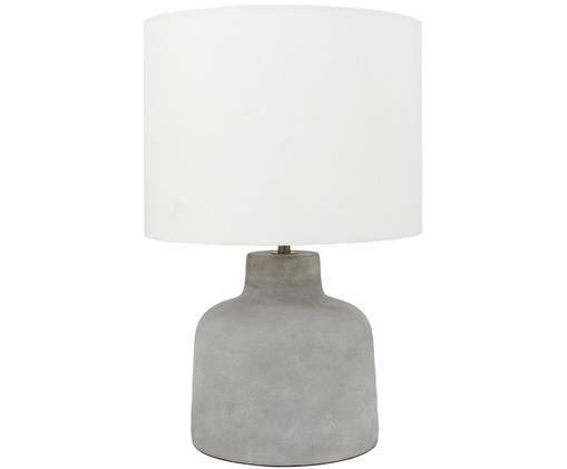 Lámpara de mesa de hormigón Ike, Gris cemento, blanco