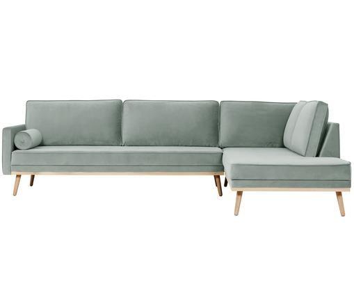 Samt-Ecksofa Saint (4-Sitzer), Bezug: Samt (Polyester) 35.000 S, Gestell: Massives Kiefernholz, Spa, Salbeifarben, 294 x 70 cm