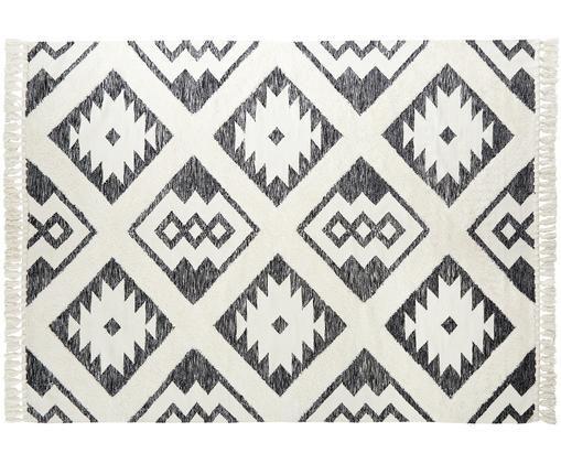 Alfombra artesanal Oscar, estilo étnico, Parte superior: 60%lana, 40%algodón, Reverso: 100%algodón, Gris, crema, An 160 x L 230 cm (Tamaño M)
