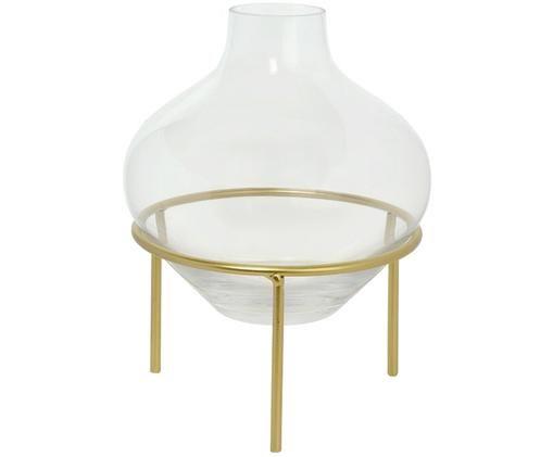 Vaas Mikel met metalen frame, Vaas: glas, Frame: gelakt metaal, Messingkleurig, Ø 21 x H 26 cm
