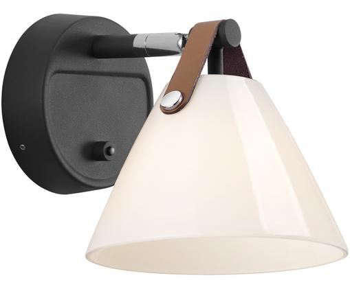 Wandleuchte Strap mit Stecker, Lampenschirm: Opalglas, Schwarz, 17 x 17 cm