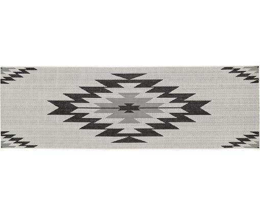 Tapis de couloir intérieur-extérieur monochrome Ikat, Blanc, noir, gris