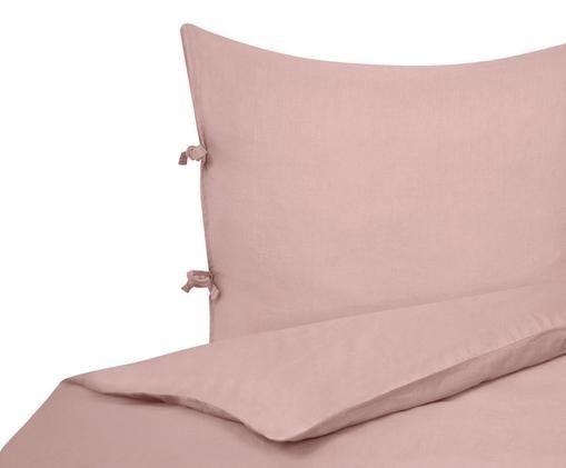 Leinen-Bettwäsche Maria, 52% Leinen, 48% Baumwolle Mit Stonewash-Effekt für einen weichen Griff, Rosa, 155 x 220 cm
