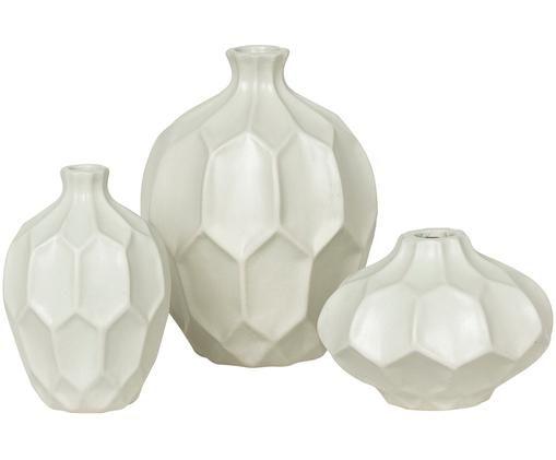 Vasen-Set Amalfi aus Steingut, 3-tlg., Weiß