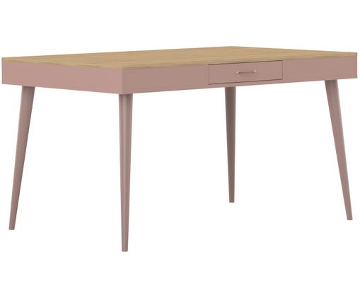 Table Horizon de style scandinave, avec tiroir, Bois de chêne, vieux rose