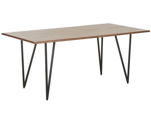 Tavolo da pranzo impiallacciato in noce Juno, Piano d'appoggio: pannello di fibra a media, Struttura: metallo verniciato a polv, impiallacciatura in noce, Larg. 180 x Prof. 90 cm