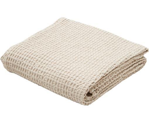 Baumwoll-Tagesdecke Tempy mit strukturierter Oberfläche, Baumwolle, Hellbeige, 240 x 260 cm