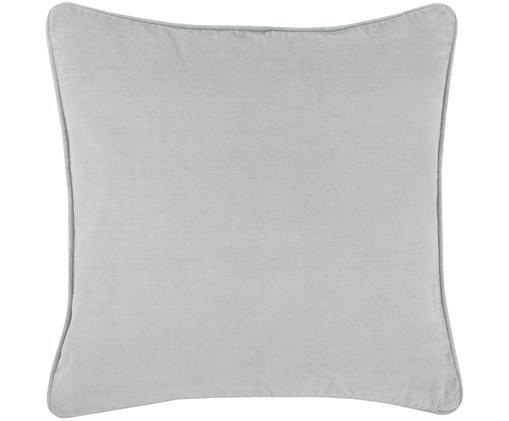 Federa arredo in velluto Dana, 100% velluto di cotone, Grigio chiaro, Larg. 50 x Lung. 50 cm