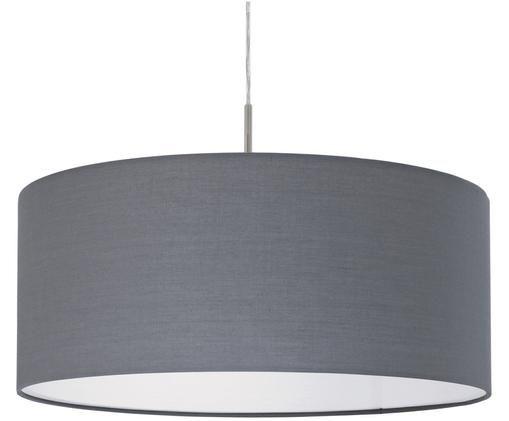 Lampada a sospensione Parry, Baldacchino: metallo, nichelato, Paralume: tessuto, Argentato, grigio, Ø 53 x Alt. 25 cm