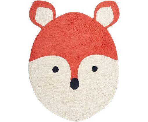 Alfombra de lana Fox, Parte superior: lana, Reverso: algodón, Naranja, blanco crudo, negro, An 120 x L 180 cm
