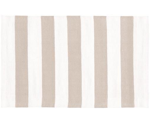 Tappeto in cotone a strisce Blocker, Cotone, Bianco crema/taupe, Larg. 50 x Lung. 80 cm (taglia XXS)