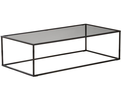 Couchtisch Maya mit Glasplatte, Tischplatte: Sicherheitsglas, Gestell: Metall, pulverbeschichtet, Tischplatte: Glas, schwarz getöntGestell: Schwarz, matt, B 130 x T 65 cm