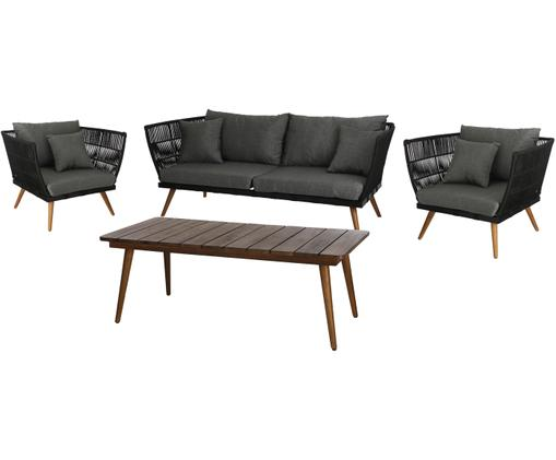 Tuin loungeset Rivoli, 4-delig, Bekleding: polyester, geïmpregneerd, Frame: polyester, UV-gestabilise, Grijs, crèmewit, Verschillende formaten