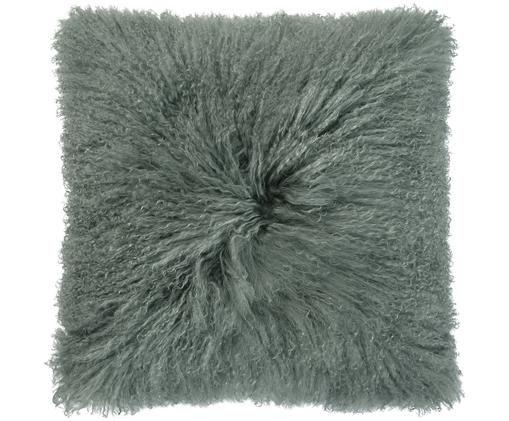 Cuscino in pelliccia di pecora a pelo lungo Curly, Verde, Larg. 50 x Lung. 50 cm