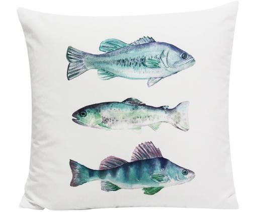 Dwustronna poszewka na poduszkę Fish, Poliester, Biały, niebieski, odcienie zielonego, odcienie purpurowego, S 45 x D 45 cm