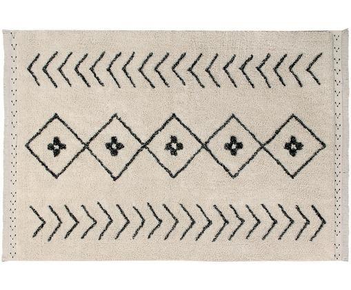 Tappeto in cotone lavabile Barber, Vello: 85% cotone, 15% cotone ri, Retro: cotone riciclato, Marrone chiaro, nero, Larg. 120 x Lung. 170 cm